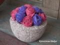 filcvirágok könnyűbeton tartóban, lila-bordó, KÓD: TV 01