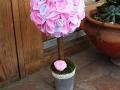 mini filc gömbfa, rózsaszín-fehér, 28 cm magas, a gömb átmérője 12 cm, KÓD: TV 09