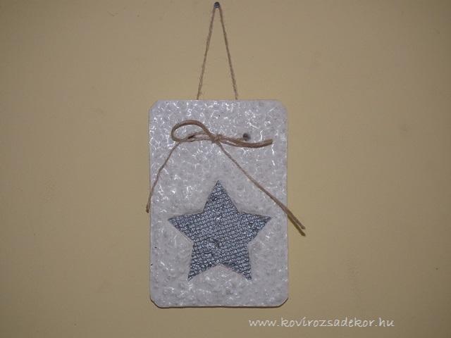 könnyűbeton falikép csillag mintával, ezüst, 12x18,5 cm, KÓD: KK 25