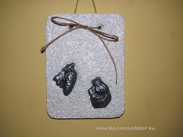 könnyűbeton falikép karácsonyi mintával, ezüst színű festés, 15x20 cm, KÓD: KK 30