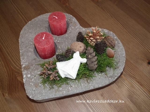 könnyűbeton gyertyatartó karácsonyi dekorációval