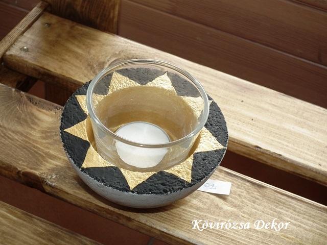 beton gyertyatartó üvegpohárral, fekete-arany festés, 11x5 cm, KÓD: KGY 16