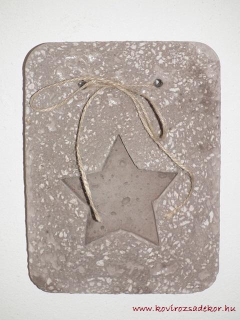 könnyűbeton falikép csillag mintával, 15x20 cm, KÓD: KK 08