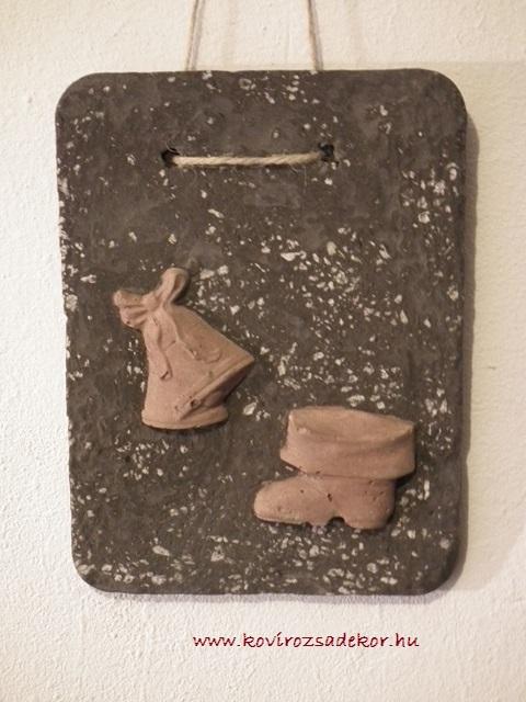 könnyűbeton falikép karácsonyi mintával, 15x20 cm, KÓD: KK 06