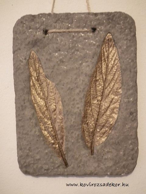 levéllenyomatos falikép (Viburnum sp.), réz színű festés,KÓD: KK21
