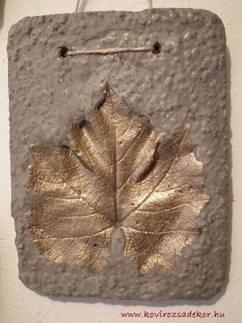 levéllenyomatos falikép (Vitis sp.), réz színű festés, 15x20 cm, KÓD: KK 22