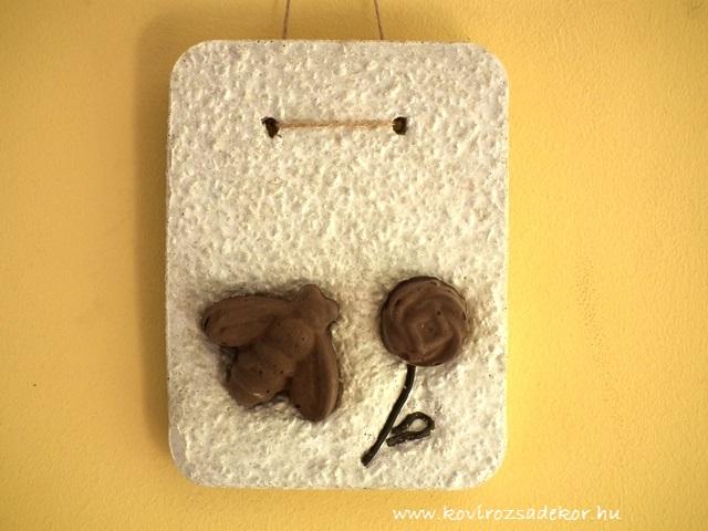 könnyűbeton falikép, virág és méhecske, 15x20 cm, KÓD: KK 33