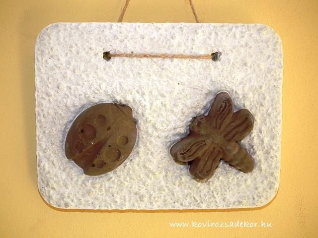 könnyűbeton falikép, katica és lepke, 20x15 cm, KÓD: KK 37
