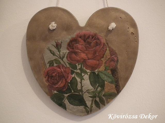 beton szív kép szalvétatechnikával, 21x21 cm, KÓD: KK 49