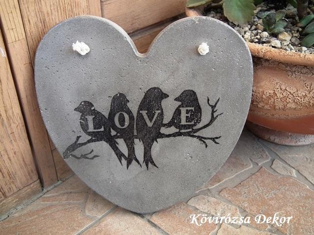 """beton szív kép transzferálással, """"madarak, Love"""", 21x21 cm, KÓD: KK 70"""