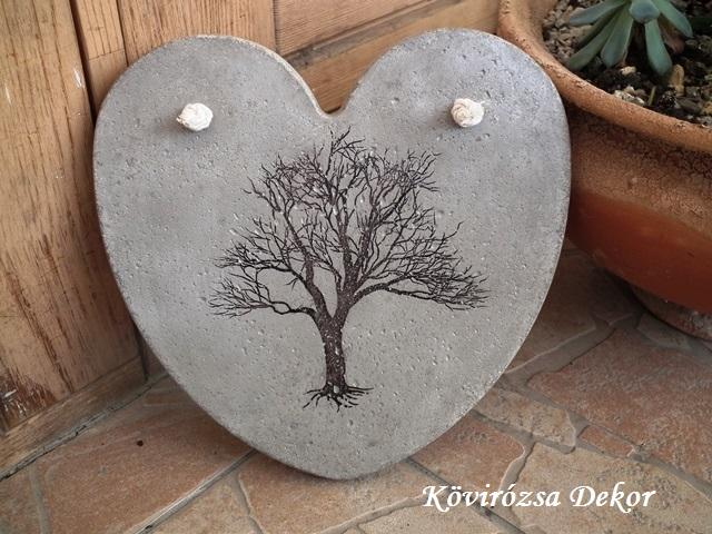 """beton szív kép transzferálással, """"fa"""", 21x21 cm, KÓD: KK 74"""