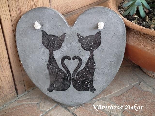 """beton szív kép transzferálással, """"cicák"""", 21x21 cm, KÓD: KK 76"""
