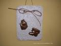 könnyűbeton falikép karácsonyi mintával, réz színű festés, 15x20 cm, KÓD: KK 29