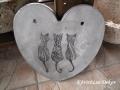 beton szív kép cicákkal, natúr, 21x21 cm, KÓD: KK 61