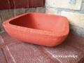 beton négyszögletes tál piros betonfestékkel festve, KÓD: BD 09