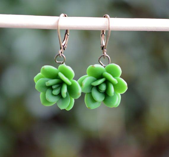 pozsgás fülbevaló, succulent earrings