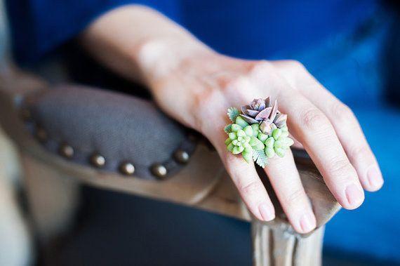 pozsgás gyűrű, succulent ring
