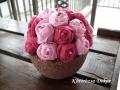 filcvirágok könnyűbeton tartóban, rózsaszín, KÓD: TV 04