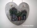 dekupázs szív kép virágokkal, 21x21 cm, KÓD: KK 51
