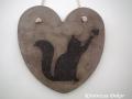 beton szív kép transzferálással, cicával, 21x21 cm, KÓD: KK 56