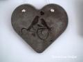 beton szív kép transzferálással, madarakkal, 26x23 cm, KÓD: KK 57