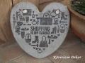 """beton szív kép transzferálással, """"shopping"""", 21x21 cm, KÓD: KK 69"""