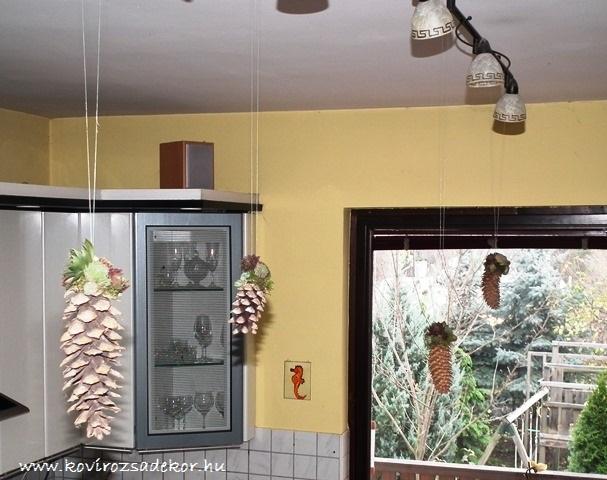 kövirózsás tobozdíszek a lakásban, sempervivum pine cone