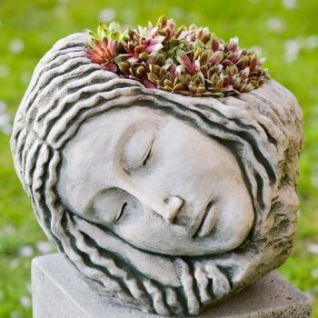 fej alakú növénytartó, succulent head planter