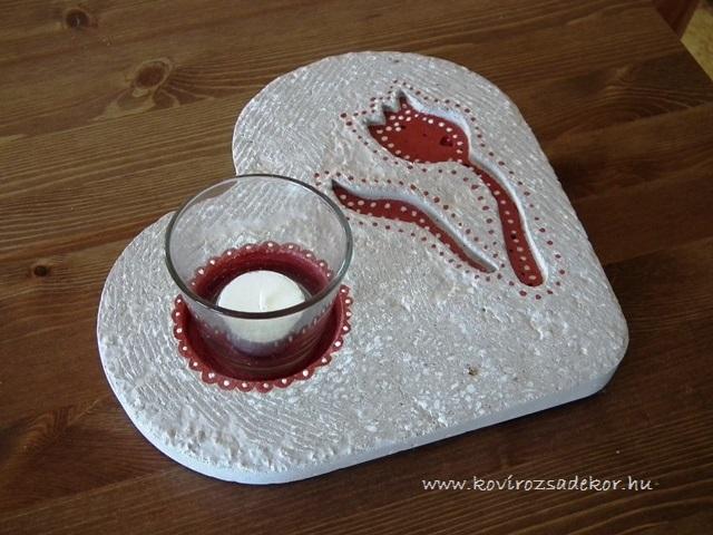 könnyűbeton szív gyertyatartó, Valentin-nap